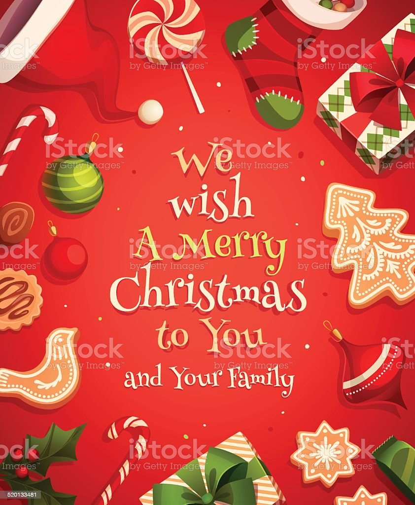 Christmas holiday deorations vector art illustration