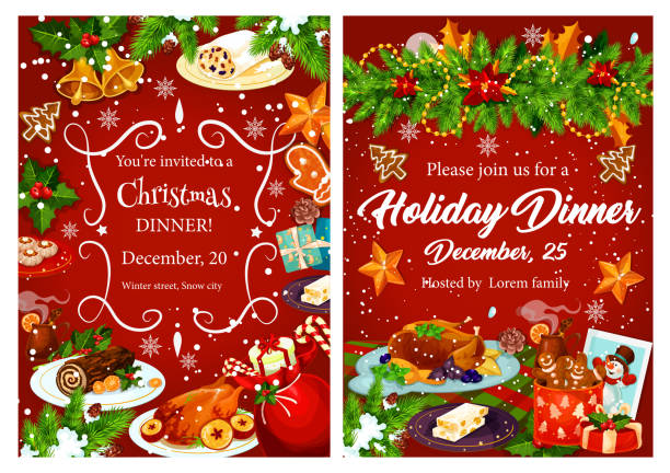 Christmas holiday festive dinner invitation card Christmas holiday festive dinner invitation card. Xmas turkey, cake and mulled wine, cookie, turron nut dessert and gingerbread banner, decorated by Christmas garland with gift, holly, bell and snowflake christmas dinner stock illustrations