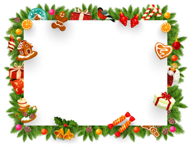 Christmas holiday frame with Xmas tree branches кристмас .праздник. подарки. поздравление рамка candy borders stock illustrations