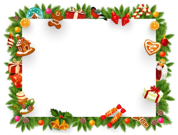 Christmas holiday frame with Xmas tree branches кристмас .праздник. подарки. поздравление рамка christmas borders stock illustrations