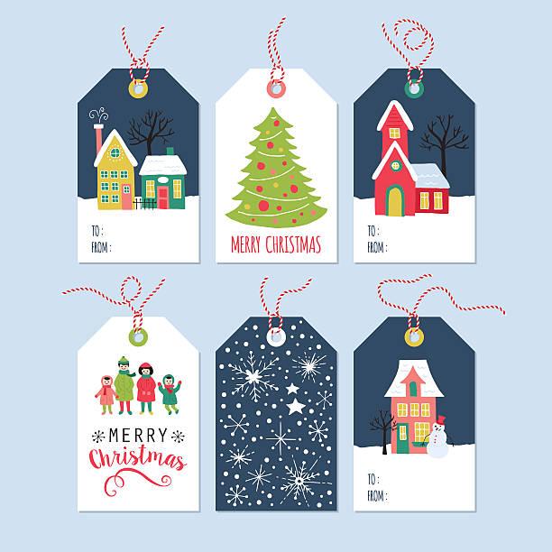 bildbanksillustrationer, clip art samt tecknat material och ikoner med christmas holiday gift tags set with hand drawing houses - christmas gift family