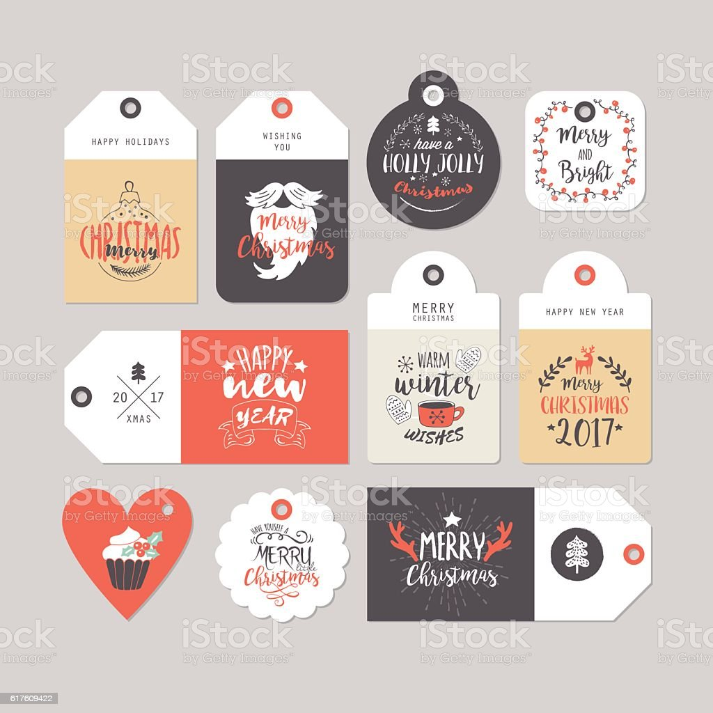 Christmas holiday gift tags set with typography and hand drawing – Vektorgrafik