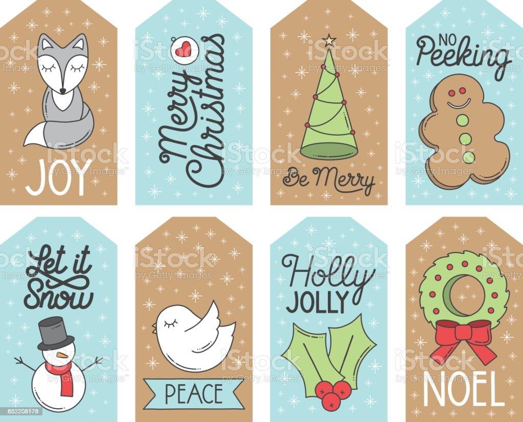 Christmas Holiday Gift Tags vector art illustration