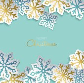Merry Christmas greeting card with gold paper cut snowflake decoration for winter holiday season. Modern 3d ornament sticker design. EPS10 vector.