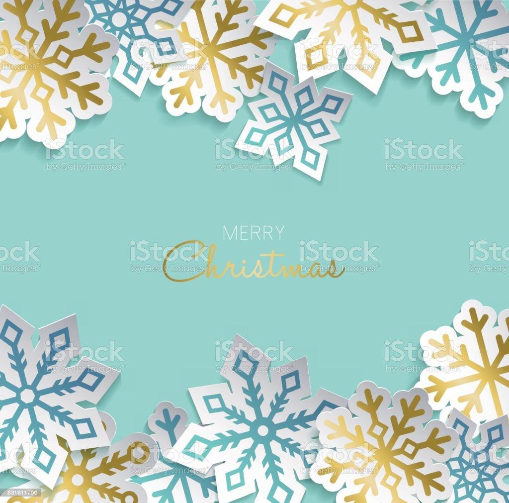 Weihnachtsfeiertage Goldpapier schneiden Dekoration Karte – Vektorgrafik