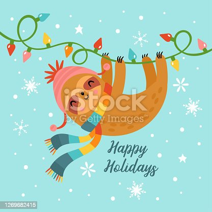 istock Christmas holiday greeting card design with cute sloth character. Childish print for cards, stickers, apparel and nursery decoration. Vector Illustration 1269682415