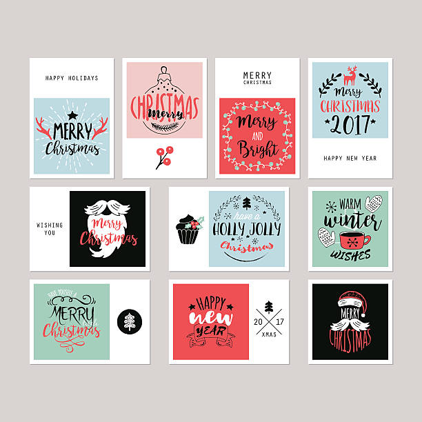 Christmas holiday greeting card set with typography and  hand-drawing elements - ilustración de arte vectorial