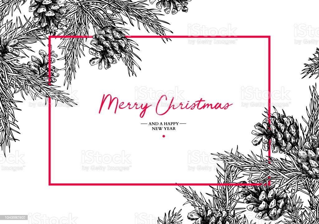 Christmas holiday gratulationskort med fir tree och pine cone. Vector hand dras botaniska illustration. - Royaltyfri Baner - Skylt vektorgrafik