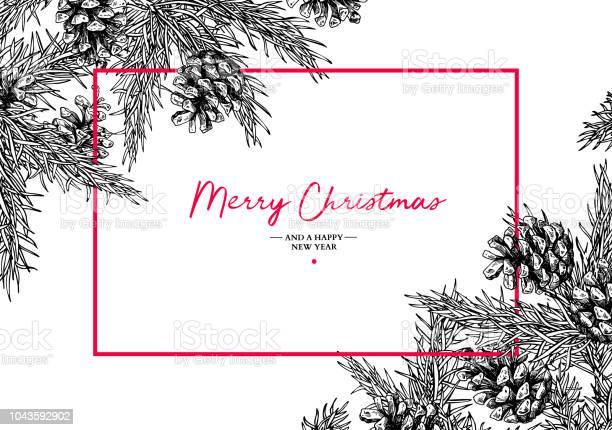 Christmas Holiday Gratulationskort Med Fir Tree Och Pine Cone Vector Hand Dras Botaniska Illustration-vektorgrafik och fler bilder på Baner - Skylt