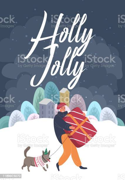 Christmas holiday greeting card with man in winter clothes who carry vector id1189923070?b=1&k=6&m=1189923070&s=612x612&h=td4tzdap h lkzwwttxtl5jk0sninmrkkatd3y3r7u0=