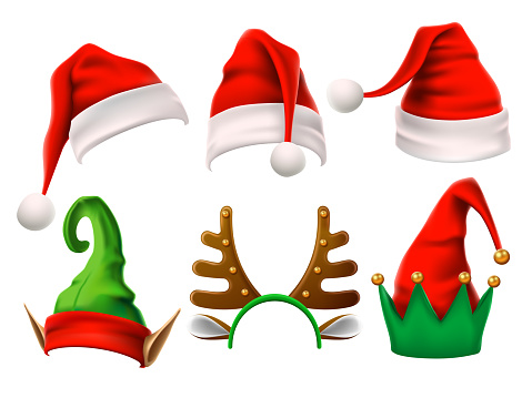 Christmas holiday hat. Funny 3d elf, snow reindeer and Santa Claus hats for noel. Elves clothes isolated vector set