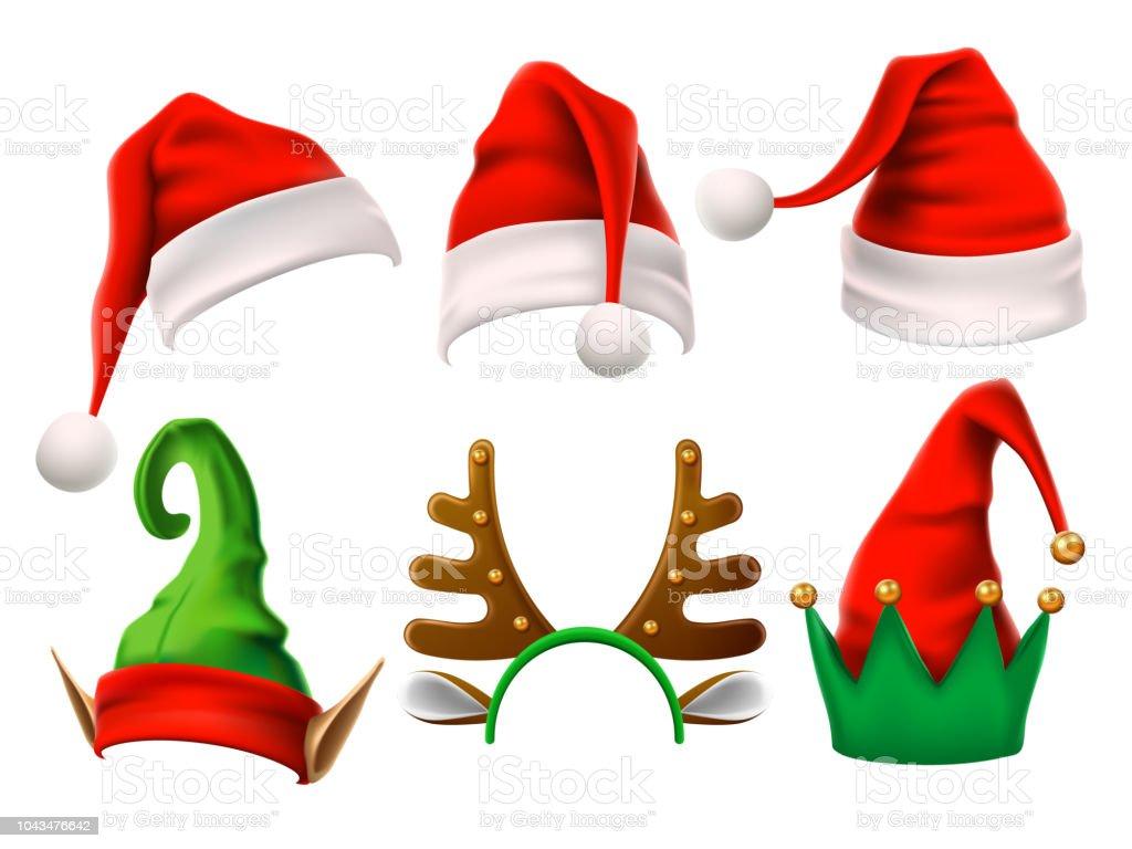 KERSTMUTS vakantie. Grappige 3d elf, sneeuw rendieren en Santa Claus hoeden voor noel. Elfen kleren geïsoleerd vector setvectorkunst illustratie