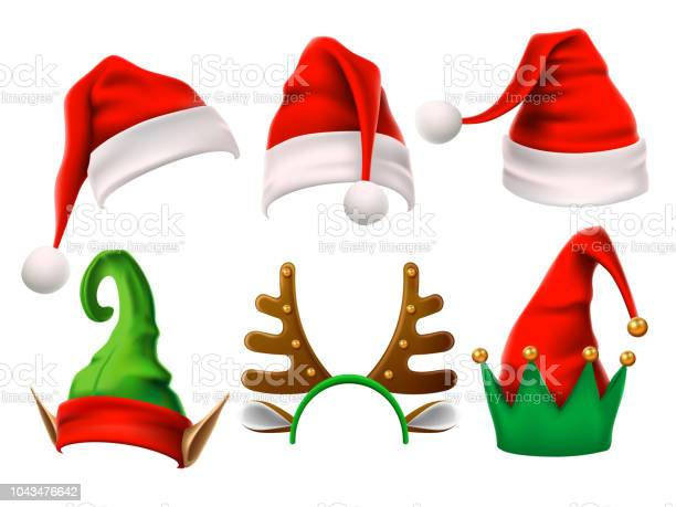 Christmas Holiday Hat Funny 3d Elf Snow Reindeer And Santa Claus Hats For Noel Elves Clothes Isolated Vector Set - Immagini vettoriali stock e altre immagini di Abbigliamento