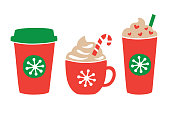 istock Christmas holiday Hot and Iced Coffee Drink 1183010299