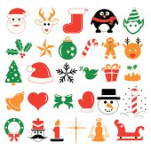 A collection of illustrated icons representing popular objects and themes at Christmas time.
