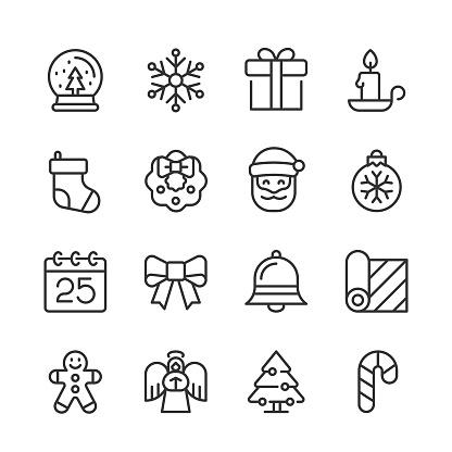 Christmas Holiday Icons — Monoline Series