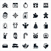 Icons associated with the Christmas holiday. Icons include a santa claus, ginger bread house, ornament, gift, fireplace, gift tag, snowflake, dove, Christmas lights, reindeer, angel, Christmas tree, stocking, snowman, snow globe, holly and others.