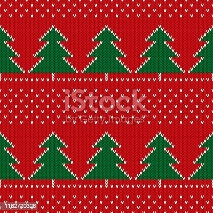 Christmas Holiday Knitted Sweater Pattern Design with Christmas Trees. Vector Seamless Wool Knit Texture Imitation