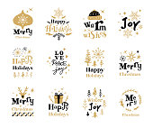 Set of Christmas labels with hand drawn fonts and Christmas decoration.  Fully editable vectors.