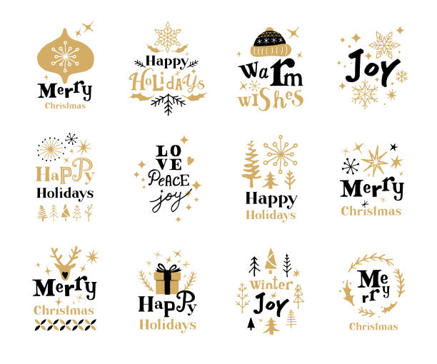 Christmas holiday labels Set of Christmas labels with hand drawn fonts and Christmas decoration.  Fully editable vectors. aphorism stock illustrations