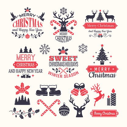 Christmas holiday labels. Vintage winter badges and logos with various snow new year vector elements and place for your text