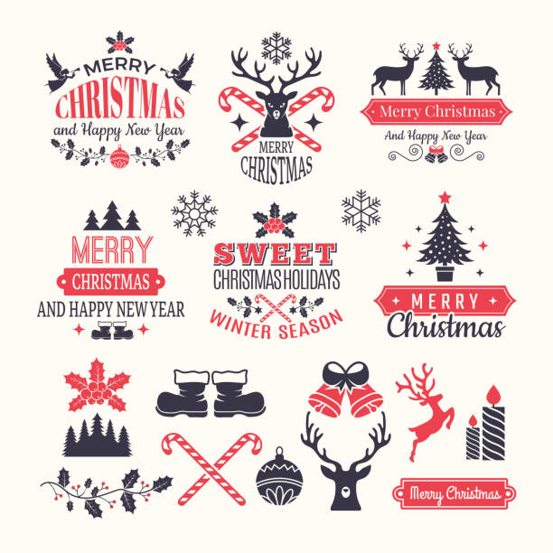 ilustrações de stock, clip art, desenhos animados e ícones de christmas holiday labels. vintage winter badges and logos with various snow new year vector elements and place for your text - christmas elements