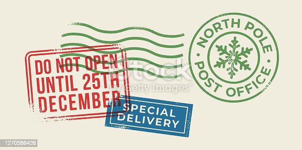 Christmas Holiday Letter Stamps. Stock illustration