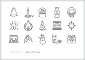 Set of 15 Christmas line icons for celebrating the holiday including items, traditions, icons and visuals from the Christian and Catholic faith
