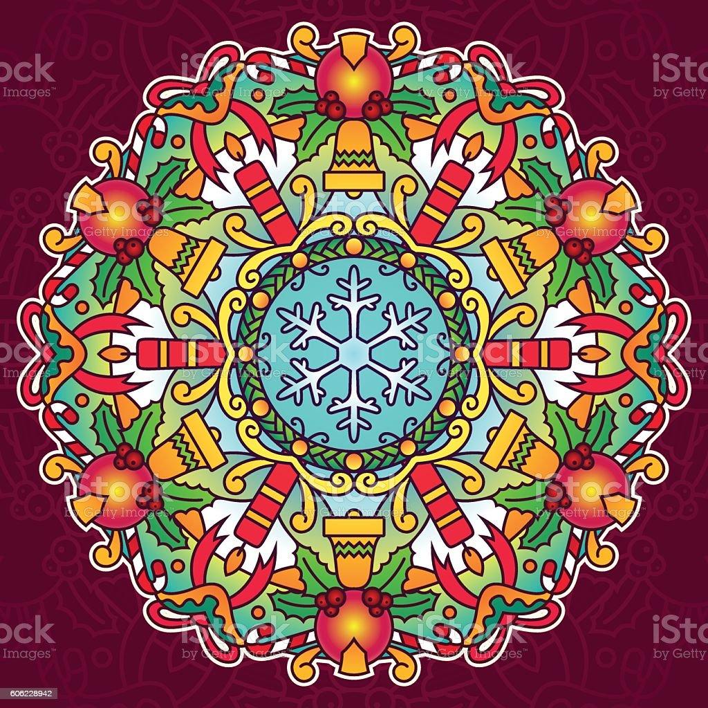 Christmas Holiday Mandala vector art illustration