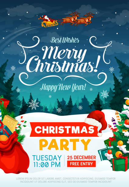 Christmas holiday party invitation poster афиша. кристмас. праздник sled stock illustrations