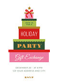 Christmas Holiday Party invitation with gift boxes. Stock illustration