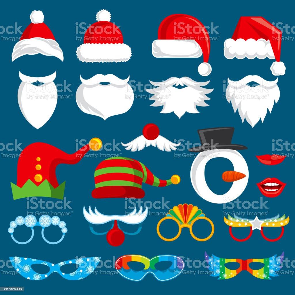 Weihnachten Urlaub Foto Stand Requisiten Vektorsammlung Xmas Santa ...