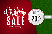 Christmas holiday sale 20% off with paper sticker on background with icons. Limited time only. Template for a banner, poster, shopping, discount, invitation