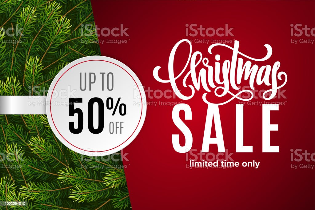 Christmas holiday sale 50% off with paper sticker on red background with fir tree branches. Limited time only. Template for a banner, poster, shopping, discount, invitation royalty-free christmas holiday sale 50 off with paper sticker on red background with fir tree branches limited time only template for a banner poster shopping discount invitation stock illustration - download image now