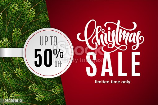 Christmas holiday sale 50% off with paper sticker on red background with fir tree branches. Limited time only. Template for a banner, poster, shopping, discount, invitation. Vector illustration for your design