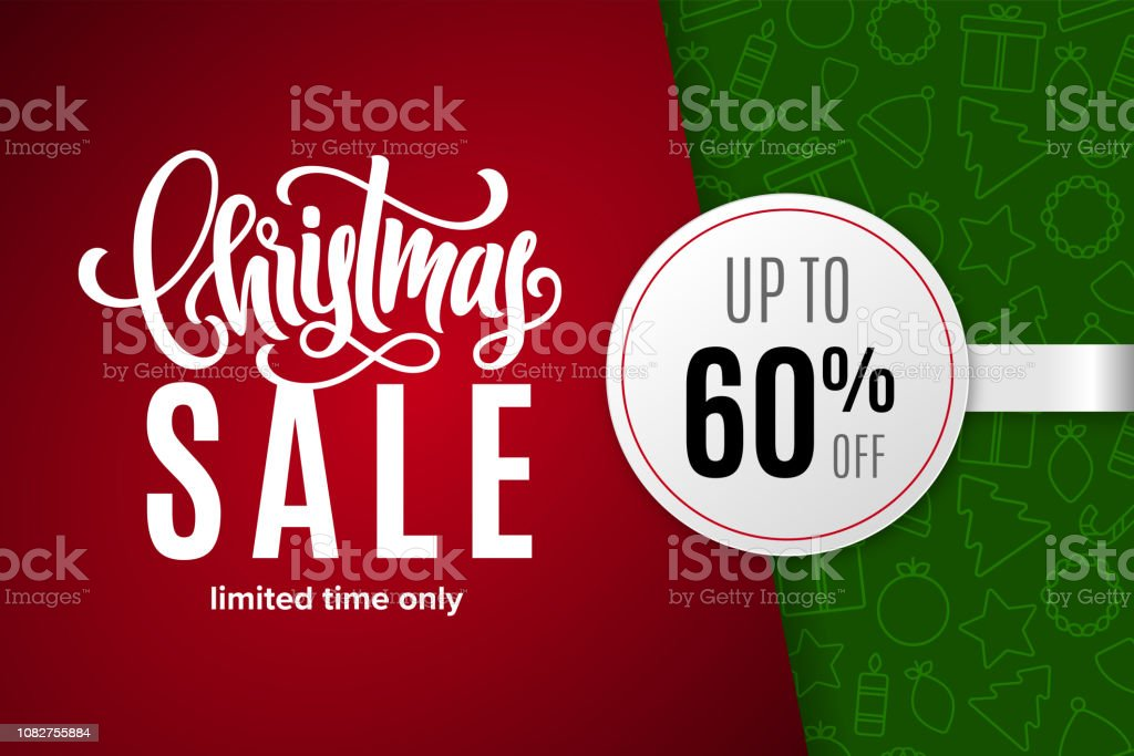 57e06f984 Christmas holiday sale 60% off with paper sticker on background with icons.  Limited time