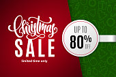 Christmas holiday sale 80% off with paper sticker on background with icons. Limited time only. Template for a banner, poster, shopping, discount, invitation. Vector illustration for your design