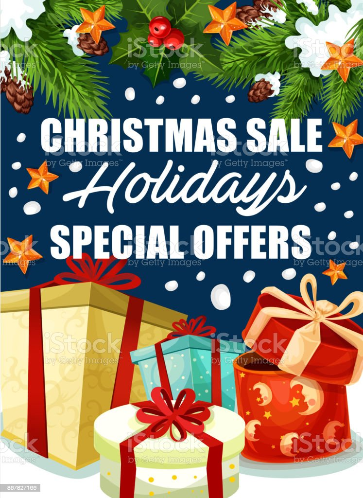 5c4d34d2a695b Cadeaux de Noël vacances vente offre affiche vecteur cadeaux de noël  vacances vente offre affiche vecteur
