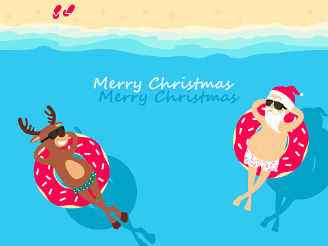 Christmas holiday. Santa Claus and deer  relaxing on inflatable donuts. Greeting Christmas card 2021