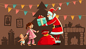 Christmas holiday. Santa Claus gives Gifts to happy girl in pajama, small kid baby brother. Interior with christmas tree, fireplace, gift boxes, garlands of flags. Greeting card. Vector illustration.