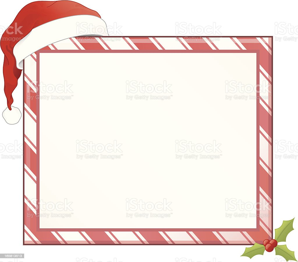 Christmas Holiday Santa Claus Candycane Hat Frame Vector Illustration royalty-free stock vector art