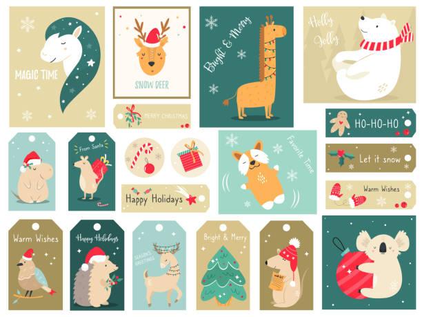 bildbanksillustrationer, clip art samt tecknat material och ikoner med jullov set med handritade djur. samling av kort och taggar med söta karaktärer - hund skog