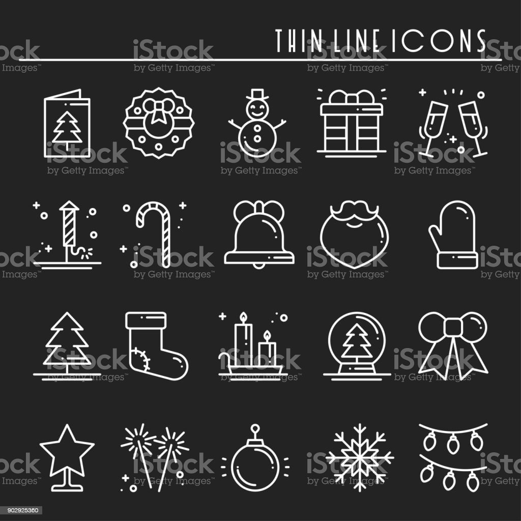 Christmas holiday thin line icons set. New Year celebration outline collection. Basic xmas winter elements. Vector simple flat linear design. Modern trendy illustration. Symbols. Christmas set 2018. vector art illustration