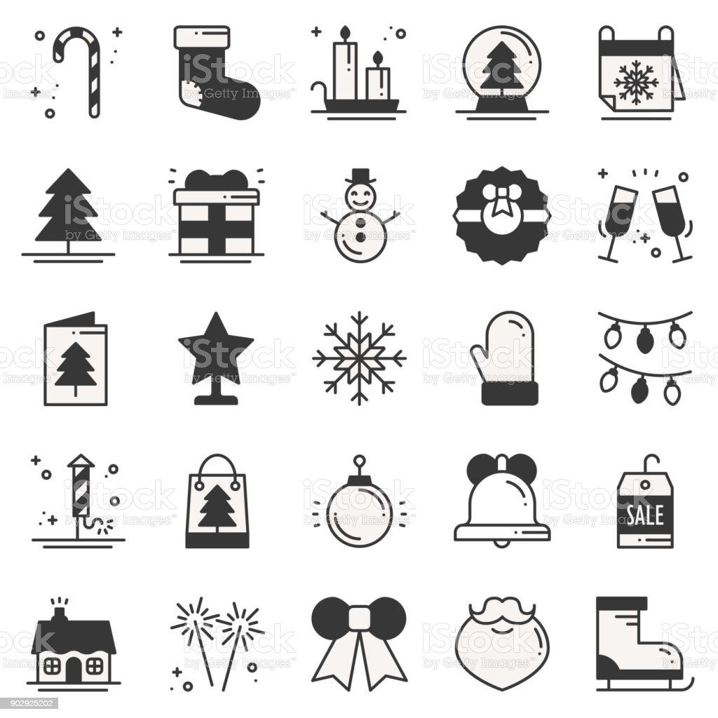 weihnachten urlaub d nne linie silhouette symbole festgelegt silvester feier umriss sammlung. Black Bedroom Furniture Sets. Home Design Ideas
