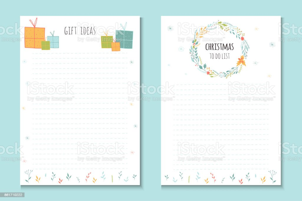 christmas holiday to do lists cute notes with winter vector illustrations royalty free