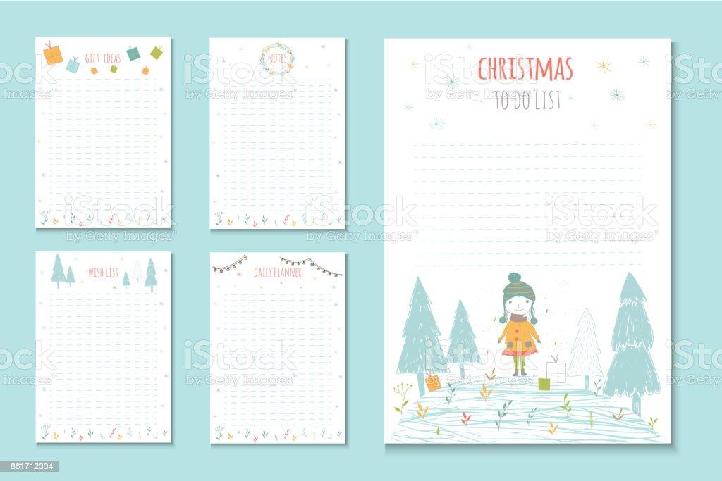 行うクリスマス休暇の一覧冬ベクトル イラストでかわいいノートです お