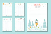 Christmas holiday to do lists, cute notes with winter vector illustrations.