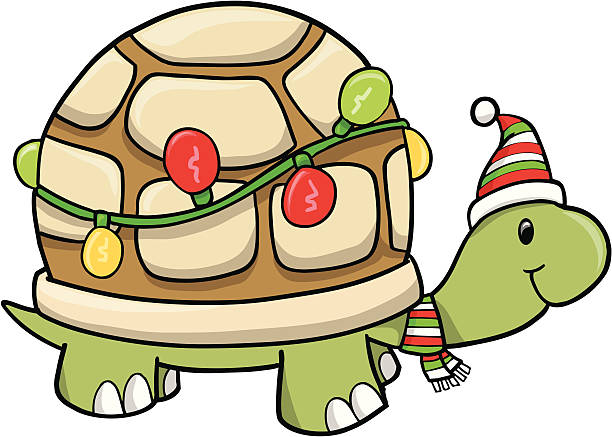 Christmas Holiday Turtle vector art illustration