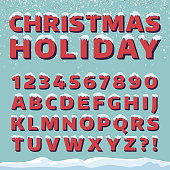 Christmas holiday vector font. Retro 3d letters with snow caps. Christmas font with snow and ice, abc and digit illustration