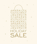 istock Christmas Holiday Winter New Year Sale background - snowflake shopping bag 870599144